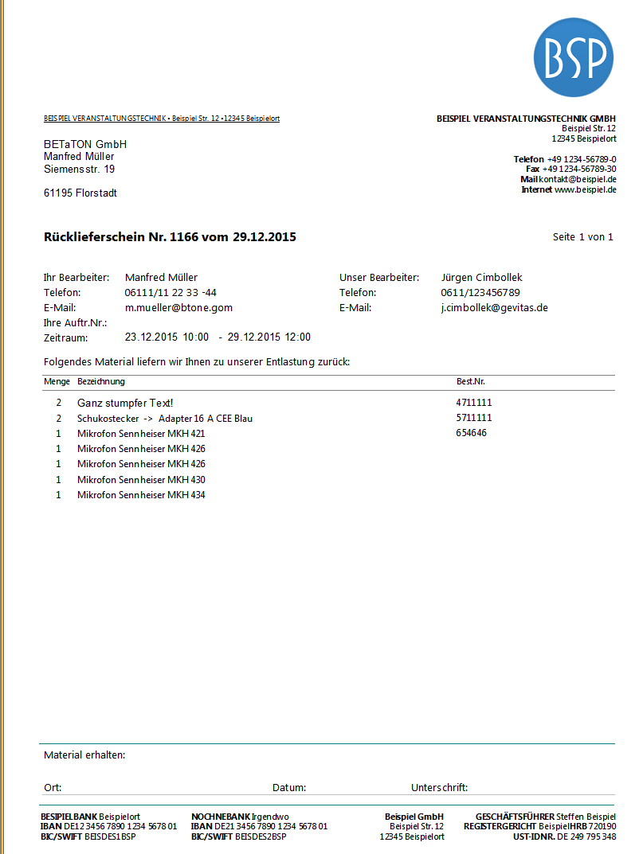REFLEX Standard-Report Rück-Lieferschein – GEVITAS
