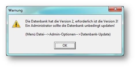 fehler in der update datenbank