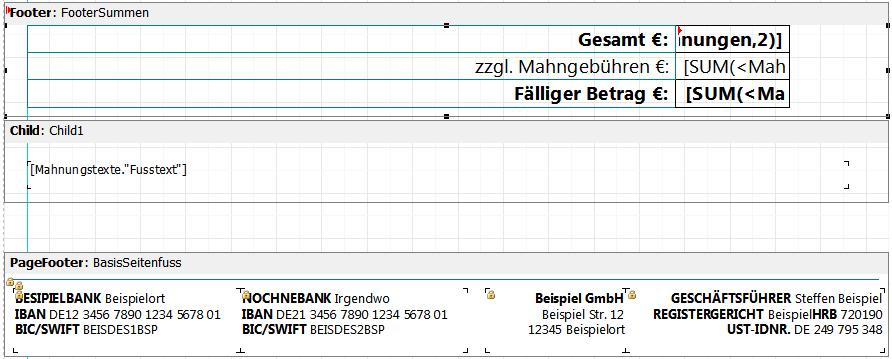 Reflex Standard Report Mahnung Gevitas